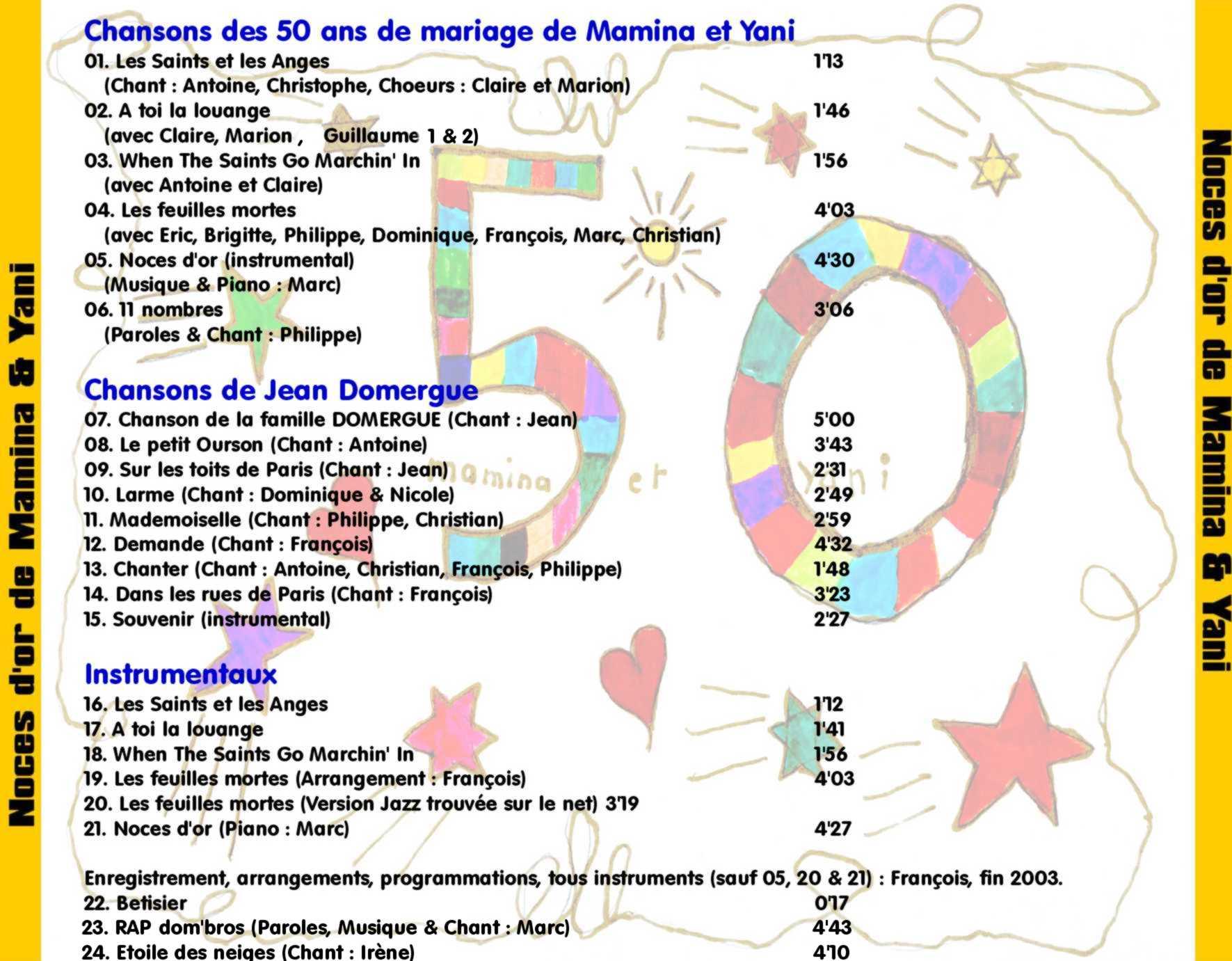 noces dor enregistr fin 2003 par toute la famille domergue enfants petits enfants belles surs loccasion des 50 ans de mariage de - Noce 50 Ans De Mariage